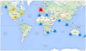 Map showing followed Twitter accounts