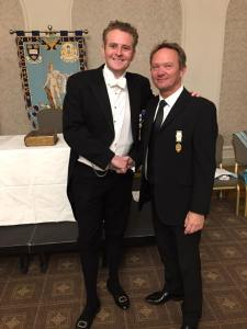 Mark (R) with the new Master of Apollo University Lodge no 357 wearing traditional dress